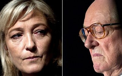 Combination photo shows the French far-right National Front (FN) party president Marine Le Pen (L) and the party's honorary president Jean-Marie Le Pen (R). (AFP/Joel Sager/Guillaume Souvant)