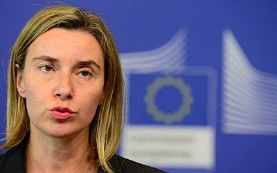 EU foreign policy chief Federica Mogherini at EU headquarters in Brussels, May 27, 2015. (AFP/John Thys)