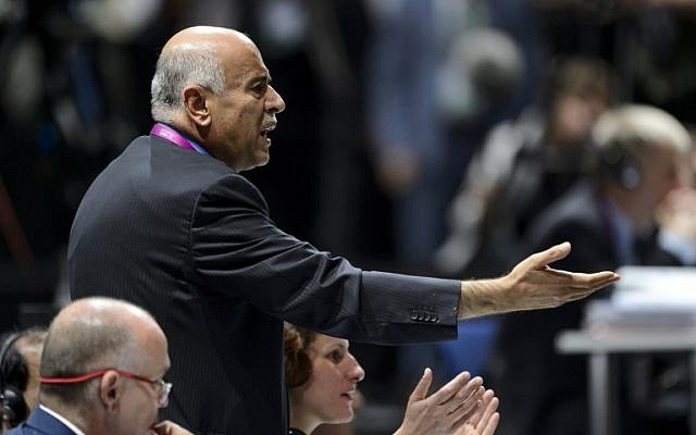 President of the Palestinian Football Association Jibril Rajoub gestures during the 65th FIFA Congress on May 29, 2015 in Zurich. Jibril Rajoub withdrew his association's bid to have FIFA suspend Israel from international football. (AFP PHOTO / FABRICE COFFRINI)