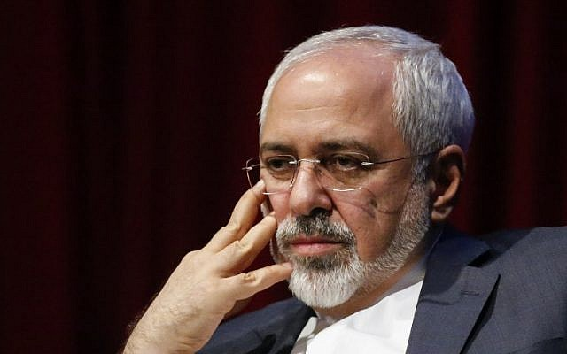 Mohammad Javad Zarif, Foreign Minister of the Islamic Republic of Iran, attends a public event at New York University on April 29, 2015. (photo credit: AFP PHOTO / KENA BETANCUR)