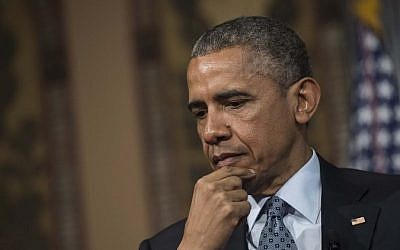 US President Barack Obama at Georgetown University in Washington, DC, May 12, 2015. (AFP/NICHOLAS KAMM)