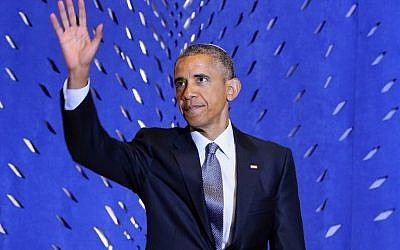 U.S. President Barack Obama delivers remarks in celebration of Jewish American Heritage Month at Adas Israel Congregation May 22, 2015 in Washington, DC. (Chip Somodevilla/Getty Images/AFP)