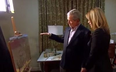 Former US President George W. Bush shows his daughter, NBC's Today show correspondent Jenna Bush Hager, artwork he has painted in his post-presidential years, April 4, 2014. (screen capture: YouTube)