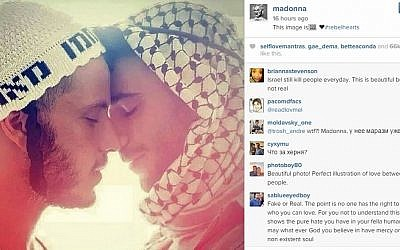 A screenshot of a photo posted on May 18, 2015 by pop star Madonna on her official Instagram page, showing a Palestinian and a Hasidic Jew about to kiss.