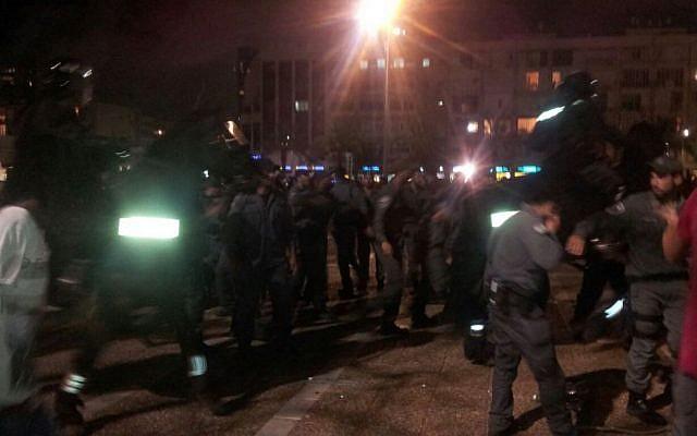 Police in Rabin Square on May 3, 2015 (photo credit:  Judah Ari Gross/Times of Israel)