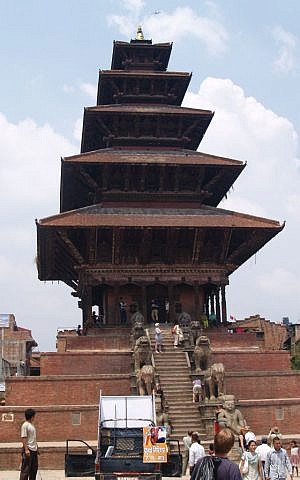 A view of one of the temples in Bhaktapur before the April 25 earthquake. The only part remaining now is the lower brick steps with the lions, pictured above. (Flickr Creative Commons)