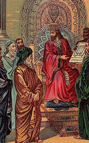 Solomon and the plan for the First Temple. (Illustration from a Bible card published by the Providence Lithograph Co.)