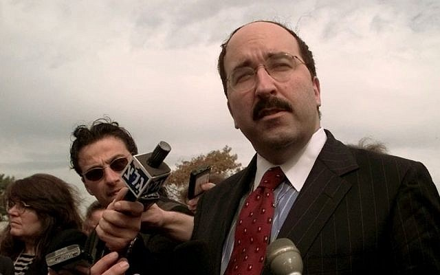 Dore Gold, then Israel's ambassador to the United Nations, speaks with reporters at Chesapeake College Monday, October 19, 1998, in Wye Mills, Maryland (AP Photo/Khue Bui/File)