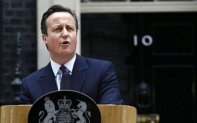 Britain's Prime Minister David Cameron speaks to the media at 10 Downing Street in London Friday, May 8, 2015. (Photo credit: AP/Kirsty Wigglesworth)