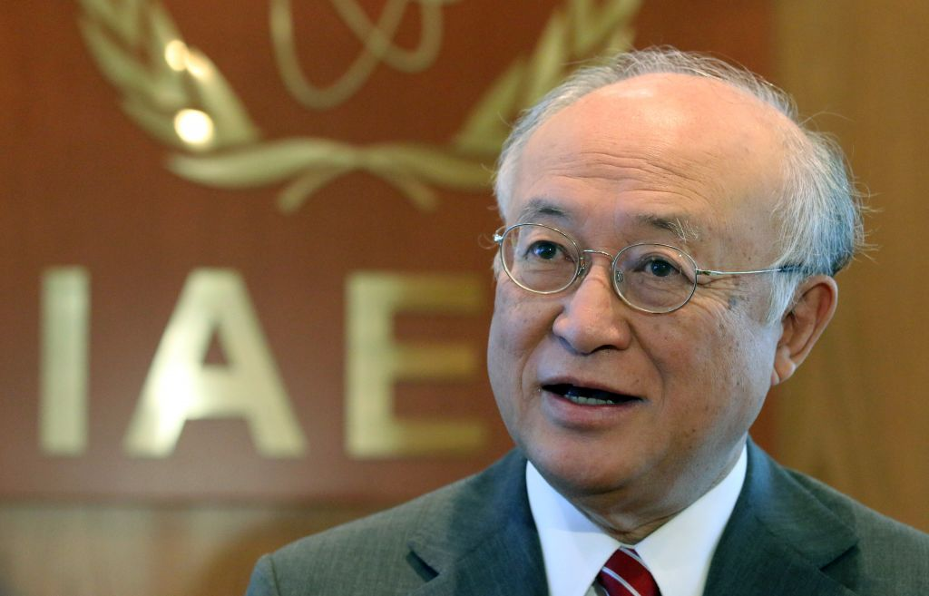 Director General of the International Atomic Energy Agency, IAEA, Yukiya Amano speaks during an interview with the Associated Press in Vienna, Austria, Tuesday, May 12, 2015. (AP Photo/Ronald Zak)