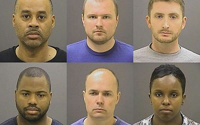 Undated photos provided by the Baltimore Police Department show Baltimore police officers, top row from left: Caesar R. Goodson Jr., Garrett E. Miller and Edward M. Nero; and bottom row from left: William G. Porter, Brian W. Rice and Alicia D. White, charged with felonies ranging from assault to murder in the police-custody death of Freddie Gray. A grand jury indicted the six officers, State's Attorney Marilyn Mosby said on May 21, 2015. (Baltimore Police Department via AP, File)