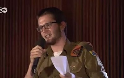 IDF soldier corporal Shachar Berrin speaks during a televised political debate about Israeli occupation of the West Bank, May 14. (YouTube/Breaking the Silence)
