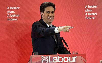 Ed Miliband, the leader of Britain's Labour Party, takes a question during an election campaign news conference, April 29, 2015. (photo credit: AP/Matt Dunham, File)