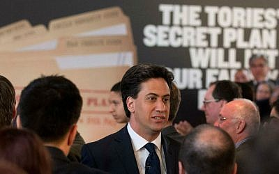 Britain's Labour Party leader Ed Miliband leaves at the end of an election campaign press conference on their theme of the threat to family finances from Britain's Conservative Party in London, Wednesday, April 29, 2015. Britain goes to the polls in a General Election on May 7. (AP Photo/Matt Dunham)