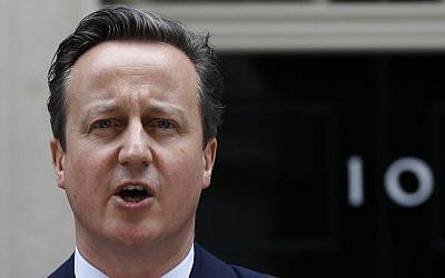 Britain's Prime Minister David Cameron speaks to the media outside 10 Downing Street in London, Friday, May 8, 2015 (AP Photo/Kirsty Wigglesworth)