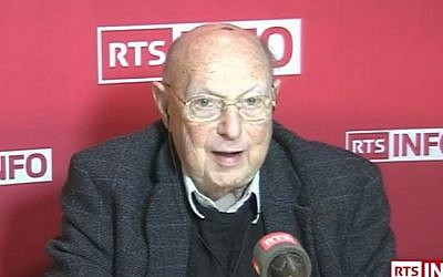 Rolf Bloch, a former leader of Swiss Jews and chocolate factory owner. (youtube screenshot/RTS - Radio Télévision Suisse)