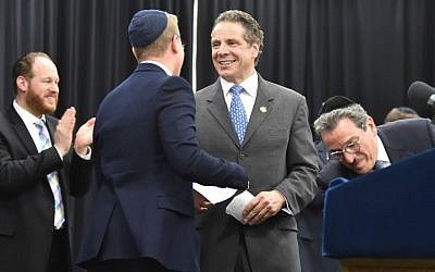 New York Gov. Andrew Cuomo speaks at a rally at Yeshiva Shaare Torah in Brooklyn in support of the Parental Choice in Education Act, May 17, 2015. (NYS Governor's Office/Kevin P. Coughlin/ via JTA)