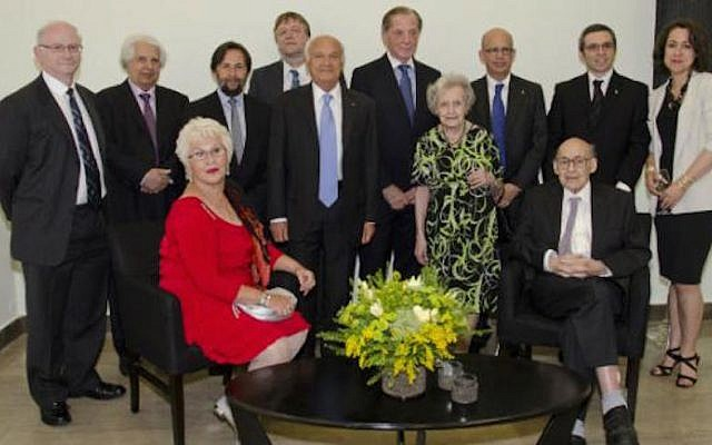 2014 Dan David Prize winners. From left, front row: Mrs. Gabriela David, Mr. Pierre Nora, Prof. Brenda Milner, Prof. Marvin Minsky; back row: Prof. Peter St. George-Hyslop, Prof. Saul Firedlander, Mr. Krzysztof Czyzewski, Prof. John A. Hardy, Prof. Itamar Rabinovich, TAU President Joseph Klafter, Mr. Ariel David, and Prof. Katherine E. Fleming. (Photo credit: Courtesy)