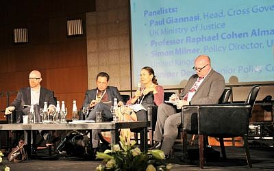 Panelists at a session on Internet hate speech at the 5th Global Forum for Combatting Antisemitism in Jerusalem, May 13, 2015. From left: Facebook's Simon Milner, Prof. Raphael Cohen Almagor, Google's Juniper Downs, and UK Ministry of Justice's Paul Giannasi. (courtesy Eliram Mandel - MFA)