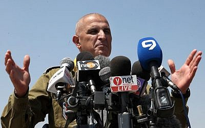Commander of the South Front Command, Sami Turgeman, speaks during a press conference, August 5, 2014. (Gideon Markowicz/Flash90)
