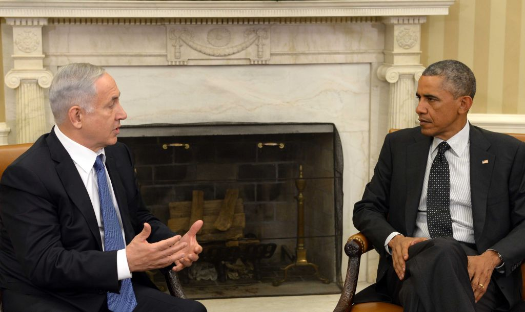 Prime Minister Benjamin Netanyahu meeting with US president Barack Obama at the White House, October 01, 2014. (Avi Ohayon/GPO)