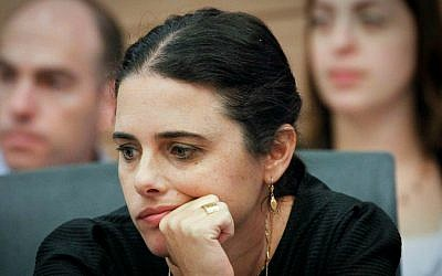 Ayelet Shaked in the Knesset, October 2014 (photo credit: Miriam Alster/Flash90)