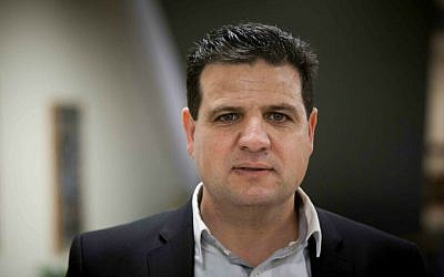 Joint (Arab) List leader Ayman Odeh in the Knesset, January 28, 2015. (Yonatan Sindel/Flash90)