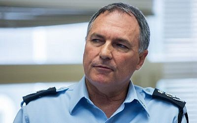 File: Israeli chief of police Yohanan Danino seen at a meeting with the Israeli Electoral Committee, February 11, 2015. (Yonatan Sindel/FLASH90)