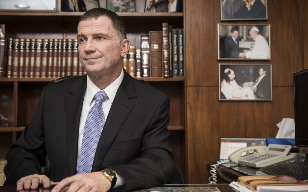 Speaker of the Knesset, Yoel Yuli Edelstein, in his office at the Knesset on April 15, 2015. (Photo credit: Hadas Parush/Flash90)
