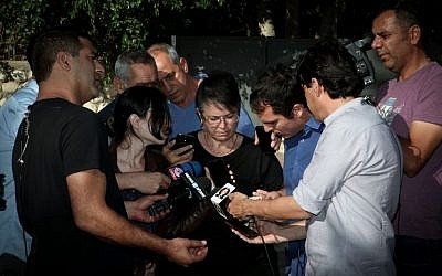 The family of 22-year-old Israeli trekker Or Asraf speaks to the press following the news that Or's body had been found in Nepal on May 03, 2015. (Photo credit: FLASH90)