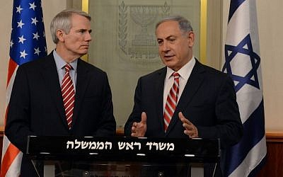 Prime Minister Benjamin Netanyahu (L) meets with Chairman of the Committee for Home Front Security in the American Senate, Rob Portman  (R-OH), May 3, 2015. (photo credit: Haim Zach/GPO)