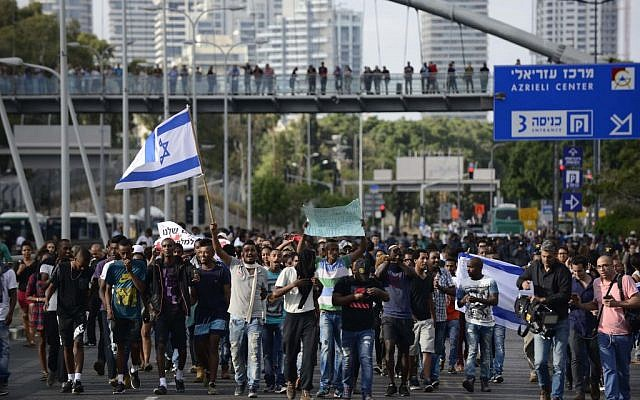 Thousands of Israeli-Ethiopians protest in Tel Aviv against violence and racism on May 03, 2015. (Photo credit: Tomer Neuberg/FLASH90)