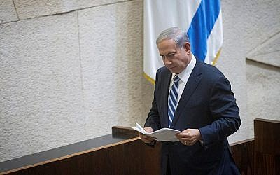 Prime Minister Benjamin Netanyahu addresses the Knesset on May 4, 2015. (Photo credit: Miriam Alster/Flash90)