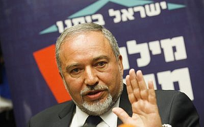 Yisrael Beytenu leader Avigdor Liberman at the Knesset, May 4, 2015 (Miriam Alster/Flash90)