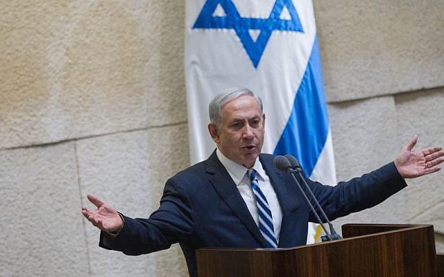 Prime Minister Benjamin Netanyahu addreses the Israeli parliament, May 4, 2015. (photo credit: Miriam Alster/Flash90)