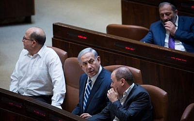 Benjamin Netanyahu in the Knesset on May 4, 2015. (photo credit: Miriam Alster/Flash90)
