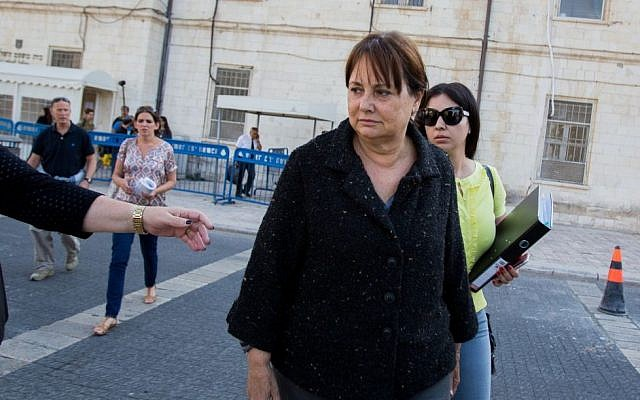 Former TA district attorney Ruth David arrives at the Magistrate's Court in Jerusalem on Wednesday, May 6, 2015, after being arrested in connection with the investigation against lawyer Ronel Fisher (photo credit: Yonatan Sindel/Flash90)