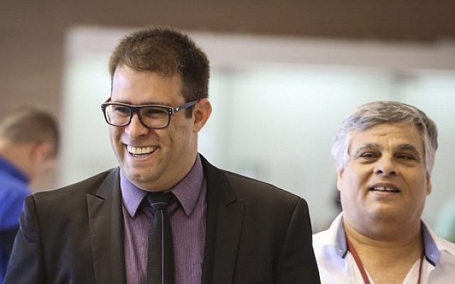 Member of Knesset Oren Hazan arriving at a Likud party meeting at the Knesset, on May 11, 2015. (Hadas Parush/Flash90)