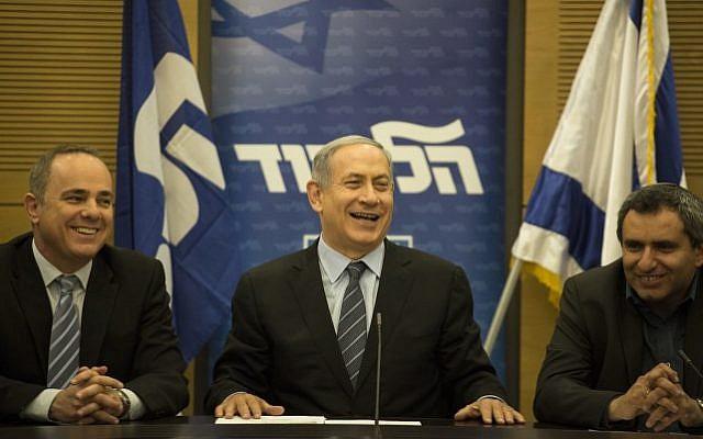 Prime Minister Benjamin Netanyahu (center) at a Likud party meeting at the Knesset, Jerusalem,  May 11, 2015 (photo credit: Hadas Parush/Flash90)