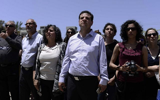 Leader of the  Joint (Arab) List, Ayman Odeh (C) seen at a memorial service during a rally marking the Nakba anniversary at the Tel Aviv University in Tel Aviv on May 20, 2015. (Tomer Neuberg/Flash90)