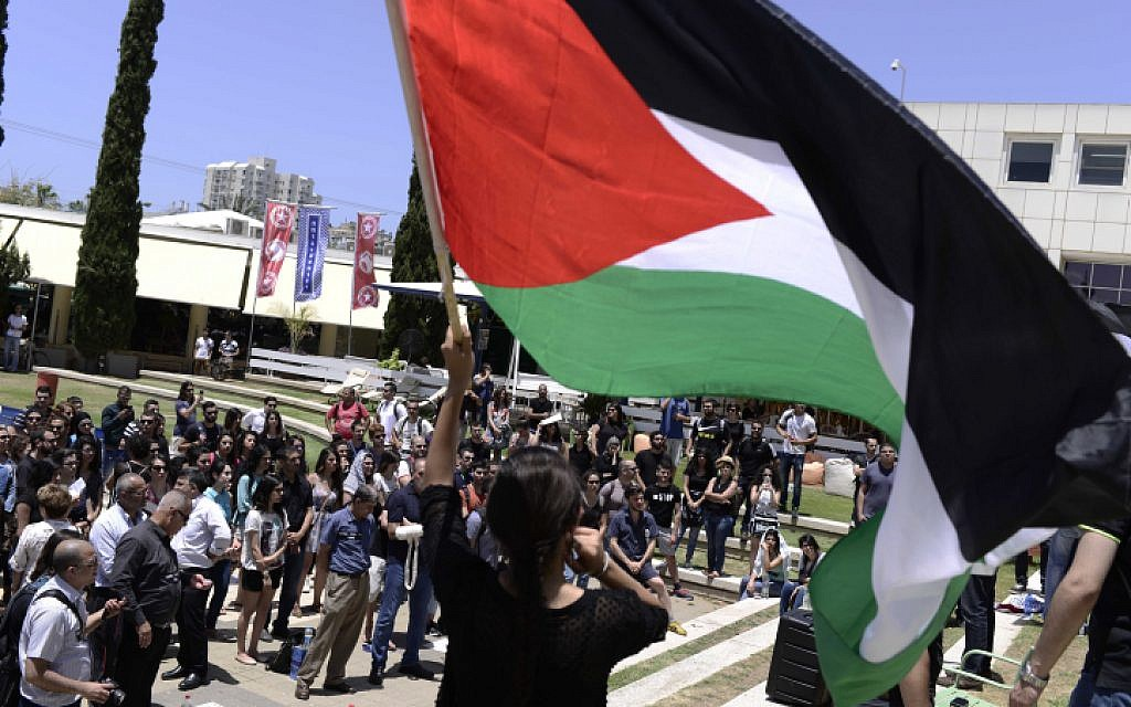 Arab Israeli and left-wing student activists hold a rally marking the Nakba anniversary at the Tel Aviv University in Tel Aviv on May 20, 2015. (Tomer Neuberg/Flash90)