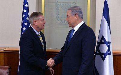File: Prime Minister Benjamin Netanyahu meets with US Senator Lindsey Graham, in Jerusalem on May 27, 2015 (Photo by Kobi Gideon/GPO)