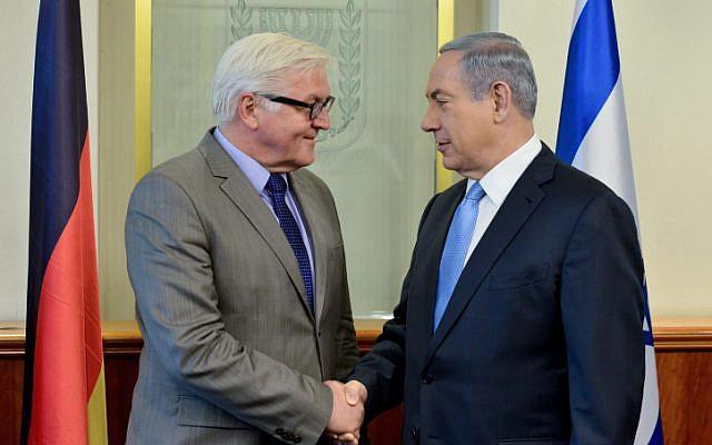 Prime Minister Benjamin Netanyahu met with German Foreign Minister Frank-Walter Steinmeier, on May 31, 2015. (Kobi Gideon/GPO)