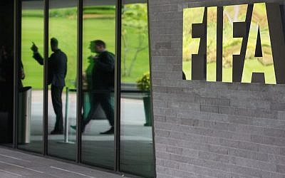 The FIFA headquarters in Zurich, Switzerland, after Swiss police detained top FIFA football officials as part of a US investigation into corruption. (JTA/Philipp Schmidli/Getty Images)