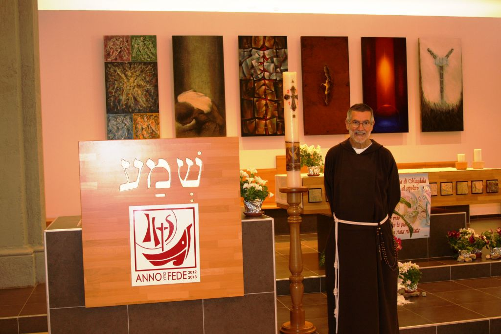Father Stephano in the chapel (Shmuel Bar-Am)