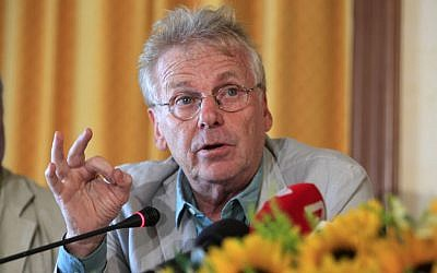 In this Tuesday, Sept. 24, 2013 file photo, Daniel Cohn Bendit, co-president of the Greens/Free European Alliance Group in the European Parliament, speaks during a press conference, at the northern city of Thessaloniki, Greece. (AP Photo/Nikolas Giakoumidis)