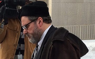 Rabbi Barry Freundel exiting the courthouse after entering his guilty plea, February 19, 2015. (JTA/Dmitriy Shapiro)