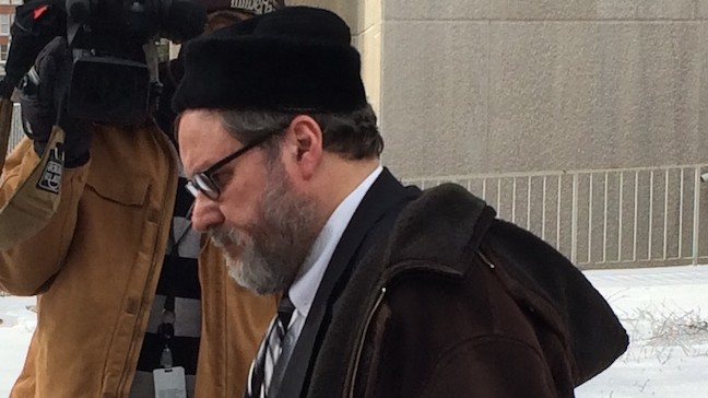 Rabbi Barry Freundel exiting the courthouse after entering his guilty plea, Feb. 19, 2015. (Photo credit: JTA/Dmitriy Shapiro)