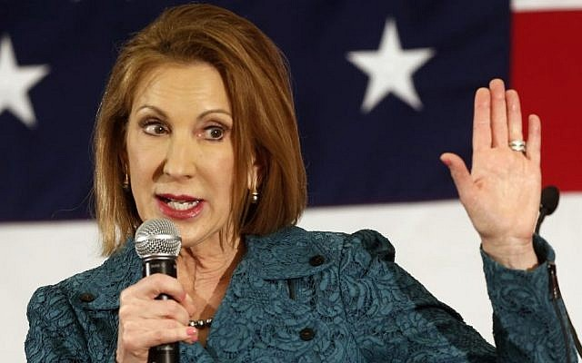 In this April 18, 2015 file photo, Carly Fiorina speaks at the Republican Leadership Summit in Nashua, New Hampshire on April 18, 2015. (photo credit: AP/Jim Cole)