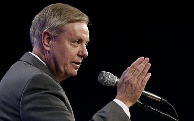 Sen. Lindsey Graham, R-SC, speaks during the Iowa Republican Party's Lincoln Dinner, Saturday, May 16, 2015, in Des Moines, Iowa. (AP Photo/Charlie Neibergall)